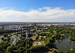 Aerial view of Magdeburg, seen from above Stadtpark