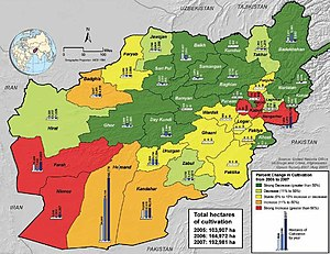 Taliban insurgency - Opium production levels for 2005–2007
