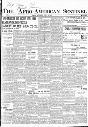 Media in Omaha, Nebraska - Cover page of The Afro-American Sentinel, Saturday, July 30, 1898
