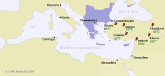 Map of the Mediterranean Sea with the extent of the Byzantine Empire highlighted and locations of key battles in the 1070s indicated
