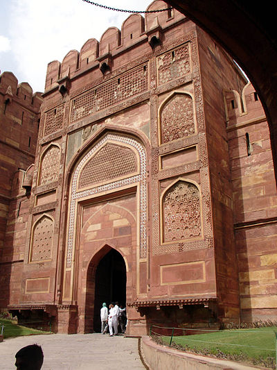 Amar Singh Gate, one of two entrances into Agra's Red Fort AgraFort.jpg