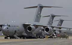 U.S. Air Force cargo planes unload several tons of supplies at Keesler Air Force Base in Biloxi, Mississippi.