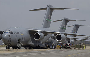 Keesler Air Force Base - August 31, 2005: C-17 Globemasters unload supplies at Keesler following Hurricane Katrina.