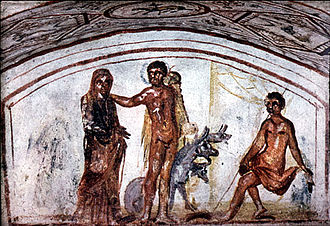 Via Latina - Wall painting in the Catacomb of the Via Latina, 4th century.