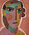 Alexej von Jawlensky Mystischer Kopf Frauenkopf auf rotem Grund c1917.jpg