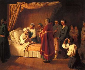 Viaticum - Administration of the Eucharist to a dying person (painting by 19th-century artist Alexey Venetsianov)