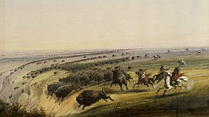 Buffalo jump - Buffalo being chased off a cliff as seen and painted by Alfred Jacob Miller in the late 19th century.