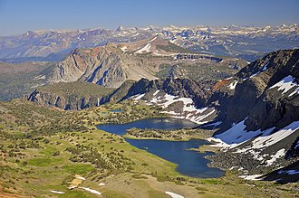 Ansel Adams Wilderness - Alger Lakes and Mount San Joaquin in the northern end of the wilderness.