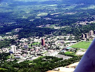 University of Massachusetts - UMass Amherst looking southeast from the air