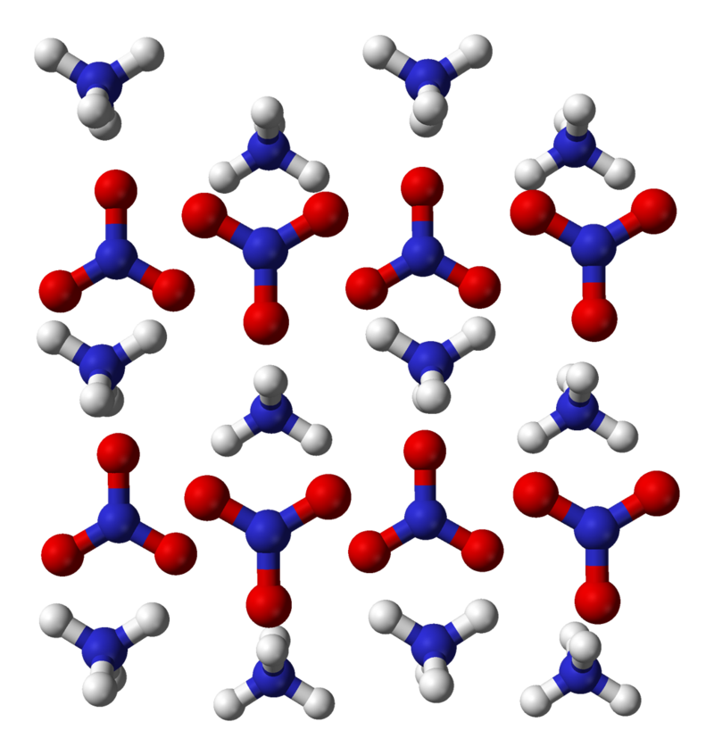 Ammonium nitrate crystal structure