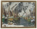 Among the Fishing Boats in Svolvaer. Study from Lofoten (Anna Boberg) - Nationalmuseum - 20521.tif