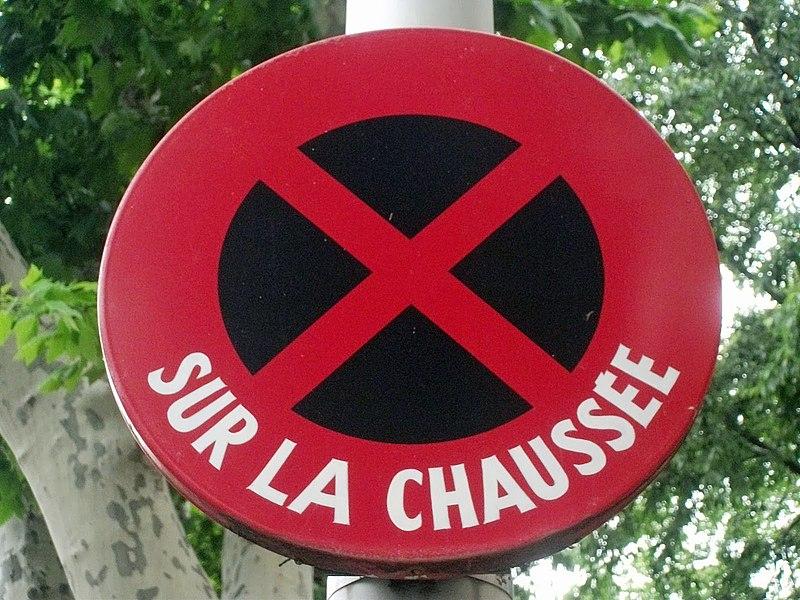 "Old sign ""No stop"" on Maréchal Foch Boulevard, in Salon-de-Provence, Bouches-du-Rhône, PACA, France."