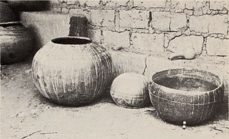 Lobedu people - Clay vessels in a Lobedu village, 1975, by which time they were only used for ritual purposes