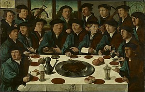 Cornelis Anthonisz. - A very early militia group portrait; the 1533 Banquet of Members of Amsterdam's Crossbow Civic Guard by Cornelis Anthonisz., with a stiff and unsubtle depiction