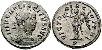 Obverse and reverse - A Roman imperial coin of Marcus Claudius Tacitus, who ruled briefly from 275 to 276, follows the convention of obverse and reverse coin traditions.