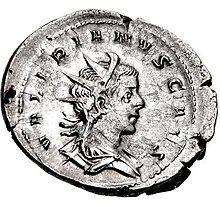 Antoninianus of Valerian II - cropped.jpg
