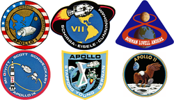 Composite image of 6 manned Apollo development mission patches, from Apollo 1 to Apollo 11.