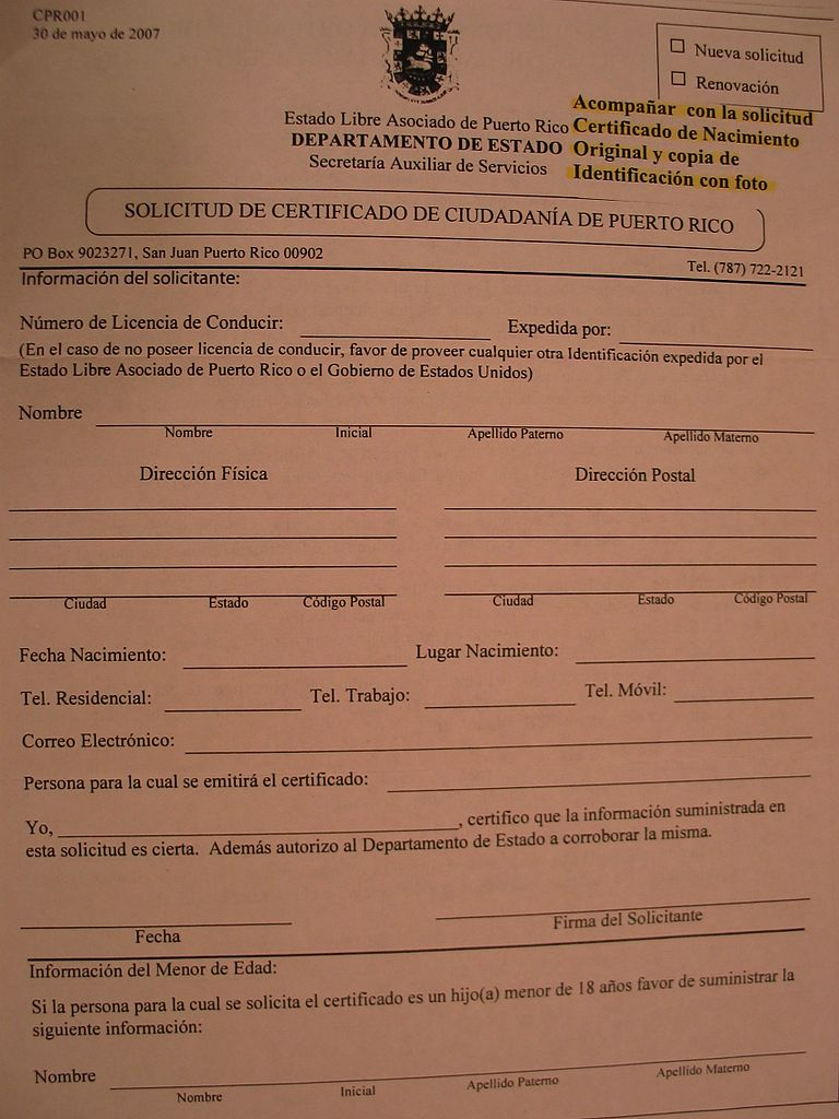 FileApplication Form for Certificate of Puerto Rican Citizenship – Citizenship Application Form