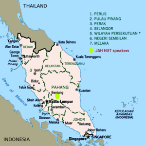 Jah Hut people - Location of Jah Hut language speakers as seen in the Peninsula Malaysia map.
