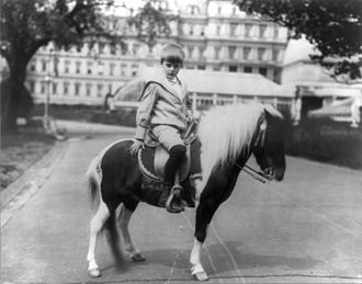 Archibald Roosevelt - Archie poses with his pony Algonquin in 1902