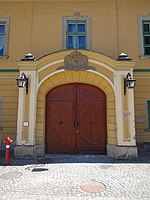 Archiepiscopal Palace, south gate in Eger, 2016 Hungary.jpg