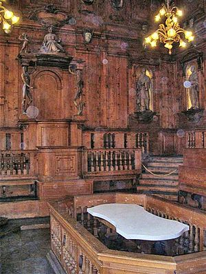 Anatomical theatre - Anatomical theatre in the Archiginnasio of Bologna, constructed in 1637