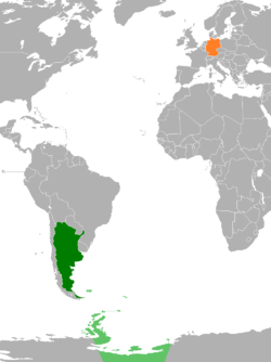 Map indicating locations of Argentina and Germany