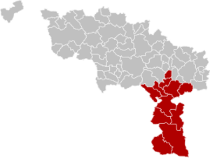 Arrondissement of Thuin - Image: Arrondissement Thuin Belgium Map