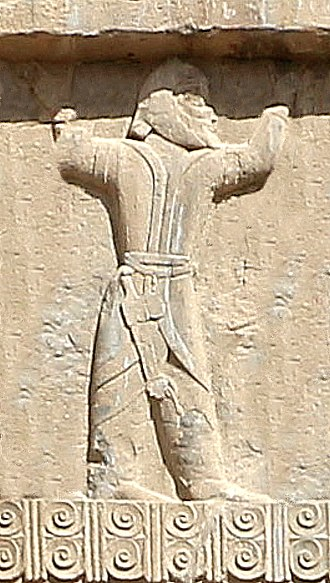 Sogdia - Sogdian soldier circa 338 BCE, tomb of Artaxerxes III.