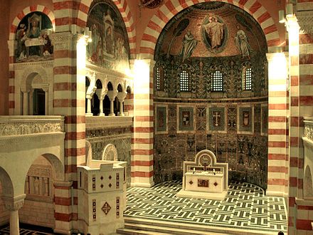 View of the altar and the pulpit in the Church of the Ascension in Jerusalem Augvic1.jpg