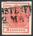 Austria 1850 3Kr Ia first print 0.12.jpg