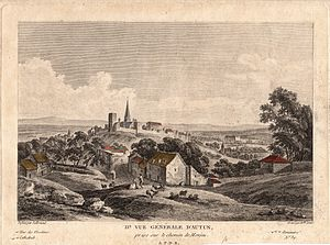 Jean-Baptiste Lallemand - View of Autun from the chemin de Monjeu (c.1780) - engraving by Mademoiselle Denis after a drawing by Lallemand