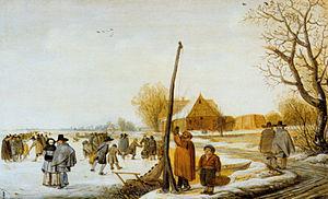 Barent Avercamp - Barent Avercamp, Winter Landscape Frozen Over River, Gemäldegalerie, Berlin
