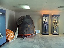 Soyuz 33 capsule with parachute, and Ivanov's spacesuits