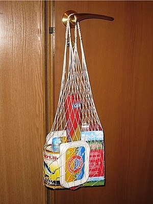 Reusable shopping bag - String bag with shopping items