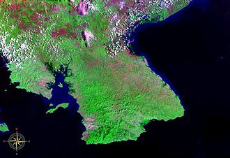 Azuero Peninsula - Azuero Peninsula seen from space (false color)