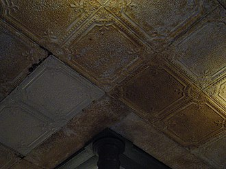 Tin ceiling - Pressed tin ceiling over a store entrance in Bellingham, Washington, U.S.A.