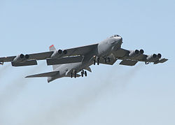 Boeing B-52 strategic bomber taking off