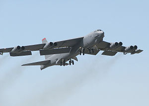 1994 Fairchild Air Force Base B-52 crash - A B-52H takes off with a standard pitch attitude.