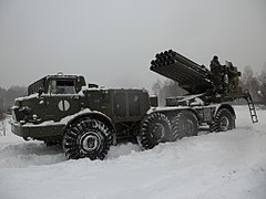 BM-27 Uragan on Chernihiv proving grounds 2018 01.jpg
