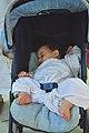 Baby sleeping in a stroller in Mecca.jpg