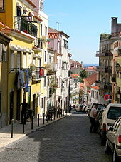 The inclined streets and 3-storey buildings in a typical street