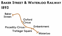 Route diagram showing line running from Baker Street at top left to Waterloo at bottom right