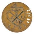 Baksida av medalj med hjärta - Skoklosters slott - 99341.tif