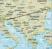 Line stretching from the northernmost point of the Adriatic to the northernmost point of the Black Sea[citation needed]