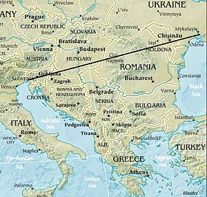 Balkans - The Peninsula's most extensive definition, bordered by water on three sides and connected with a line on the fourth