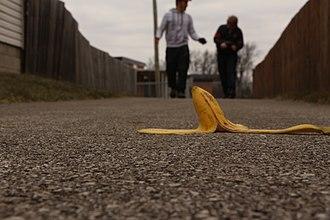 Banana peel - A banana peel on the ground.