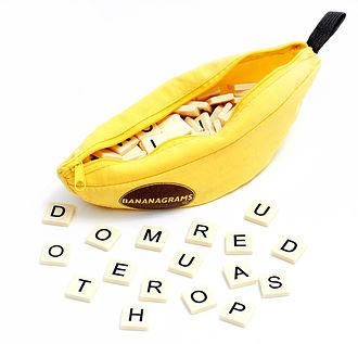 Bananagrams - Bananagrams game bag and word tiles