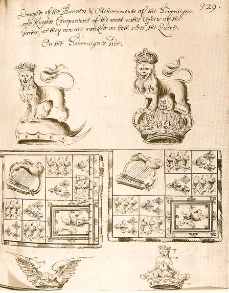 File:Banner and Crest of Charles II and James II.png