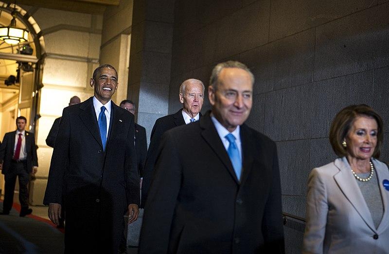 File:Barack Obama, Joe Biden, Chuck Schumer, and Nancy Pelosi head toward the Capitol Platform, Jan. 20, 2017.jpg